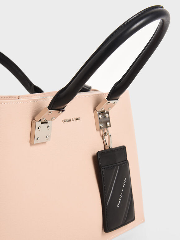 Double Top Handle Structured Bag, Pink, hi-res