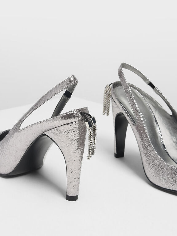 Crystal Tassel Detail Slingbacks, Pewter, hi-res