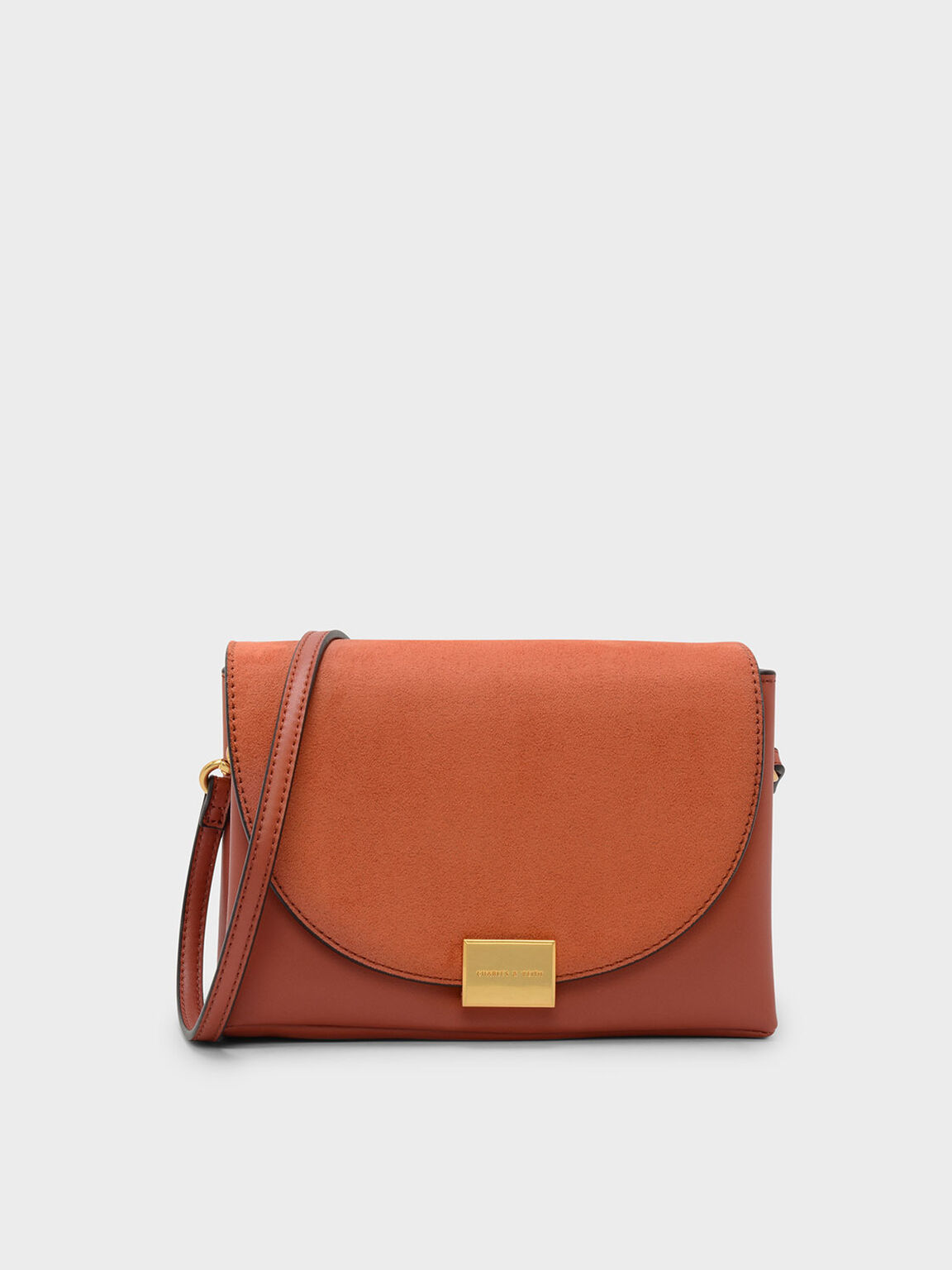 Front Flap Push-lock Crossbody Bag, Clay, hi-res