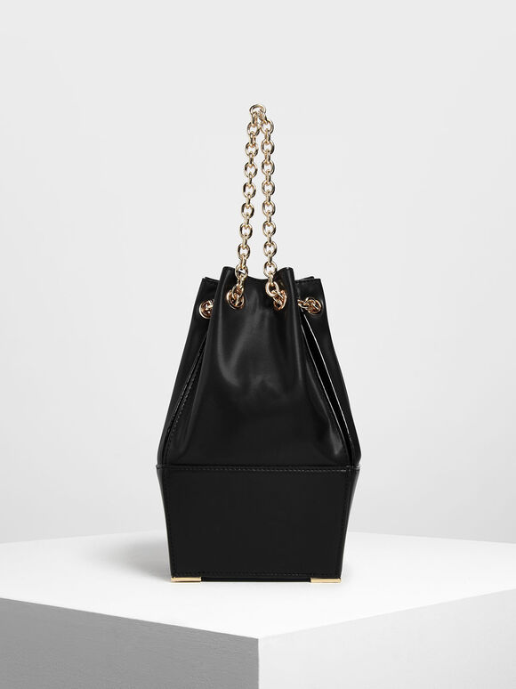 Chain Handle Bucket Bag, Black, hi-res
