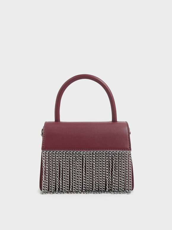 Metallic Fringe Top Handle bag, Burgundy, hi-res