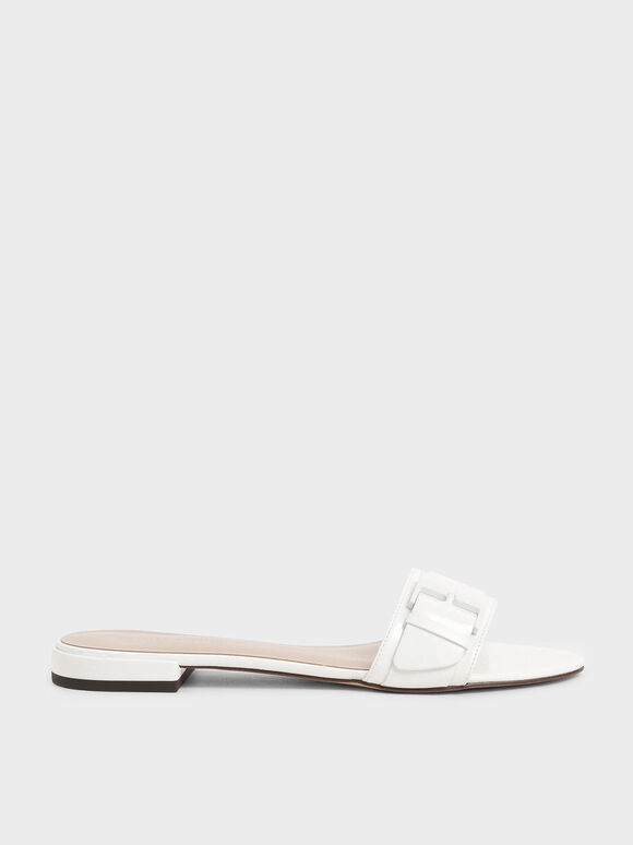 Buckle Strap Patent Slide Sandals, White, hi-res