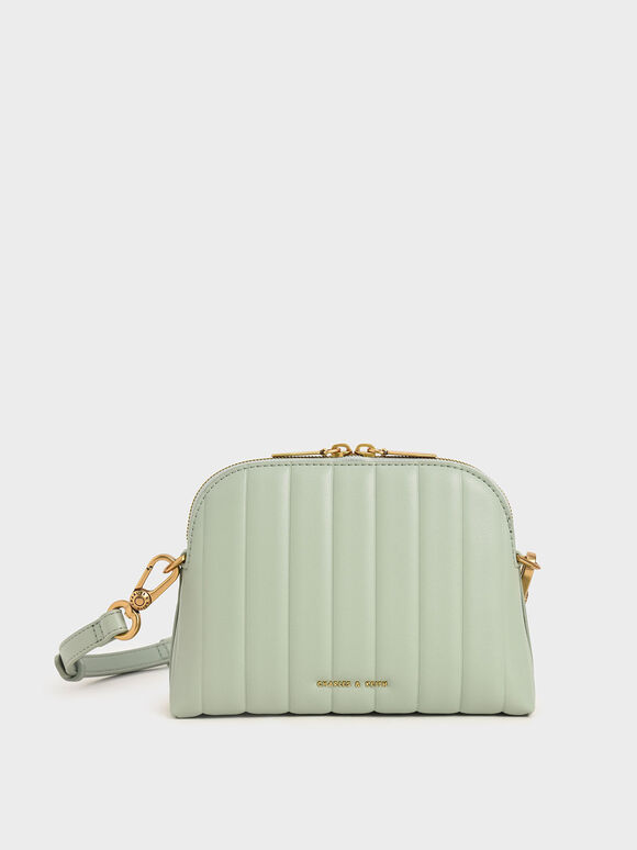 Chain Handle Panelled Crossbody Bag, Mint Green, hi-res