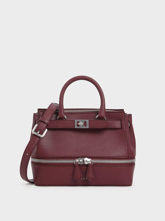 Two-Way Zip Structured Bag, Burgundy, hi-res