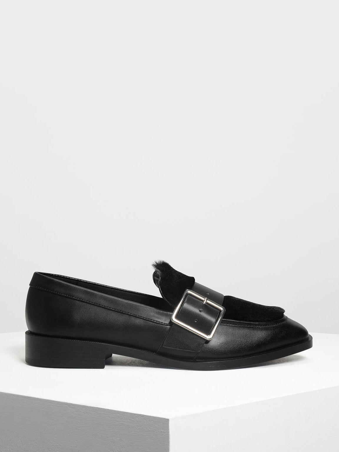 Buckled Furry Detail Loafers, Black, hi-res