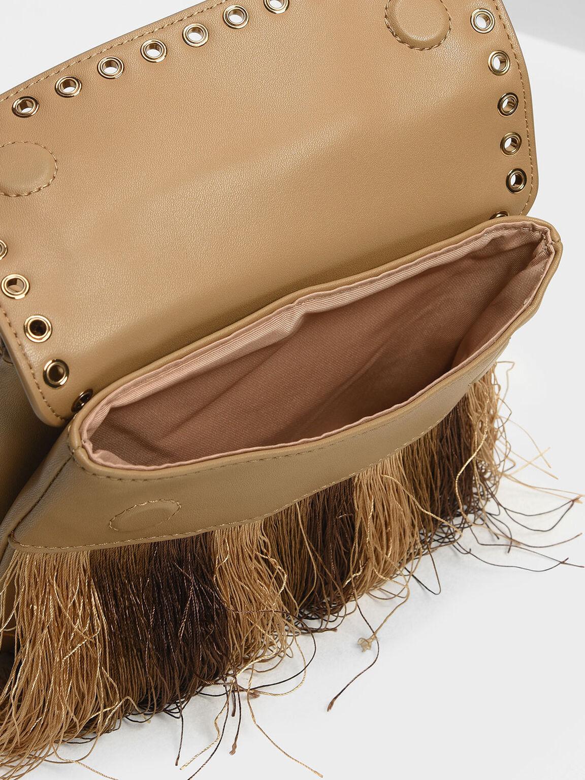 Grommet Detail Belt Bag, Beige, hi-res