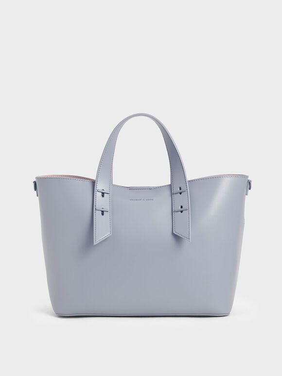Double Handle Hobo Bag, Light Blue, hi-res