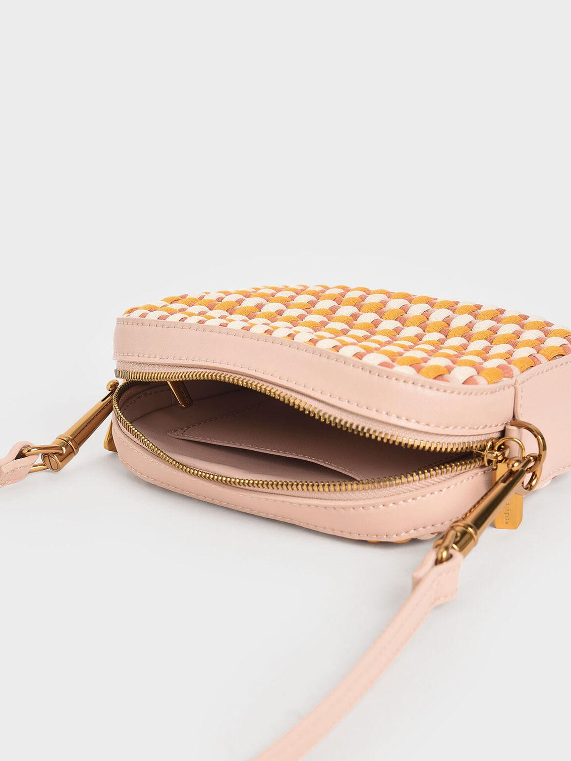 Multicoloured Woven Crossbody Bag, Nude, hi-res