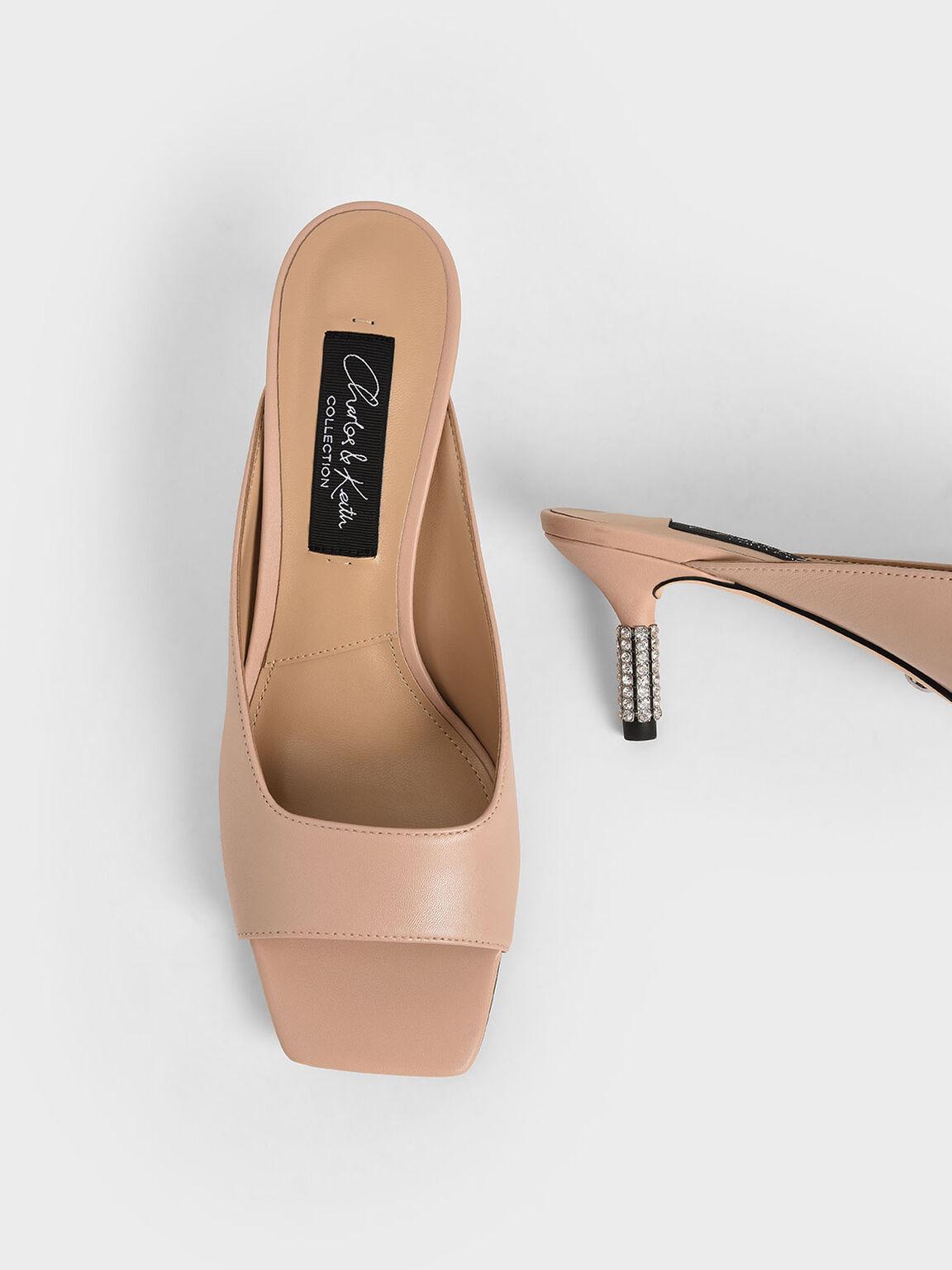 真皮魚口拖鞋, 粉紅色, hi-res