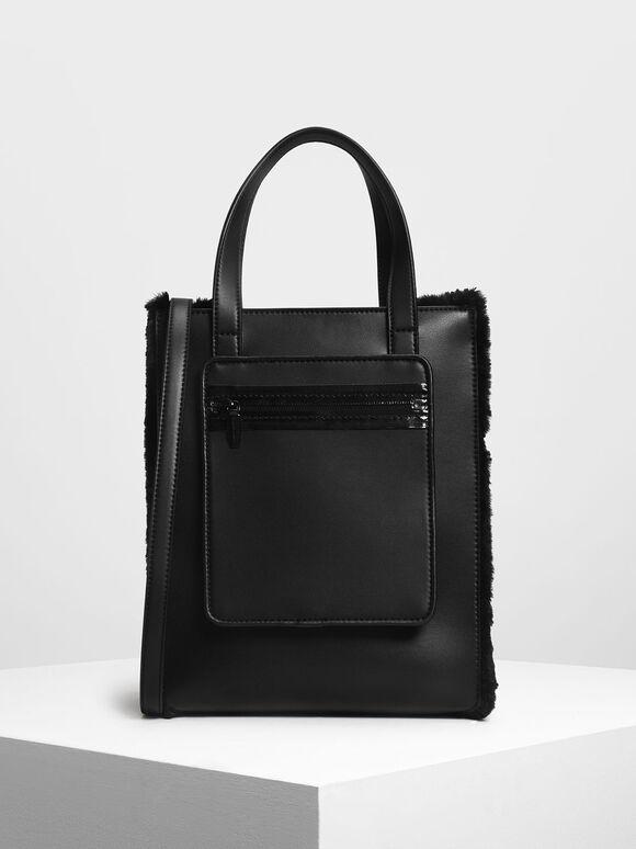 Furry Panel Tote Bag, Black, hi-res