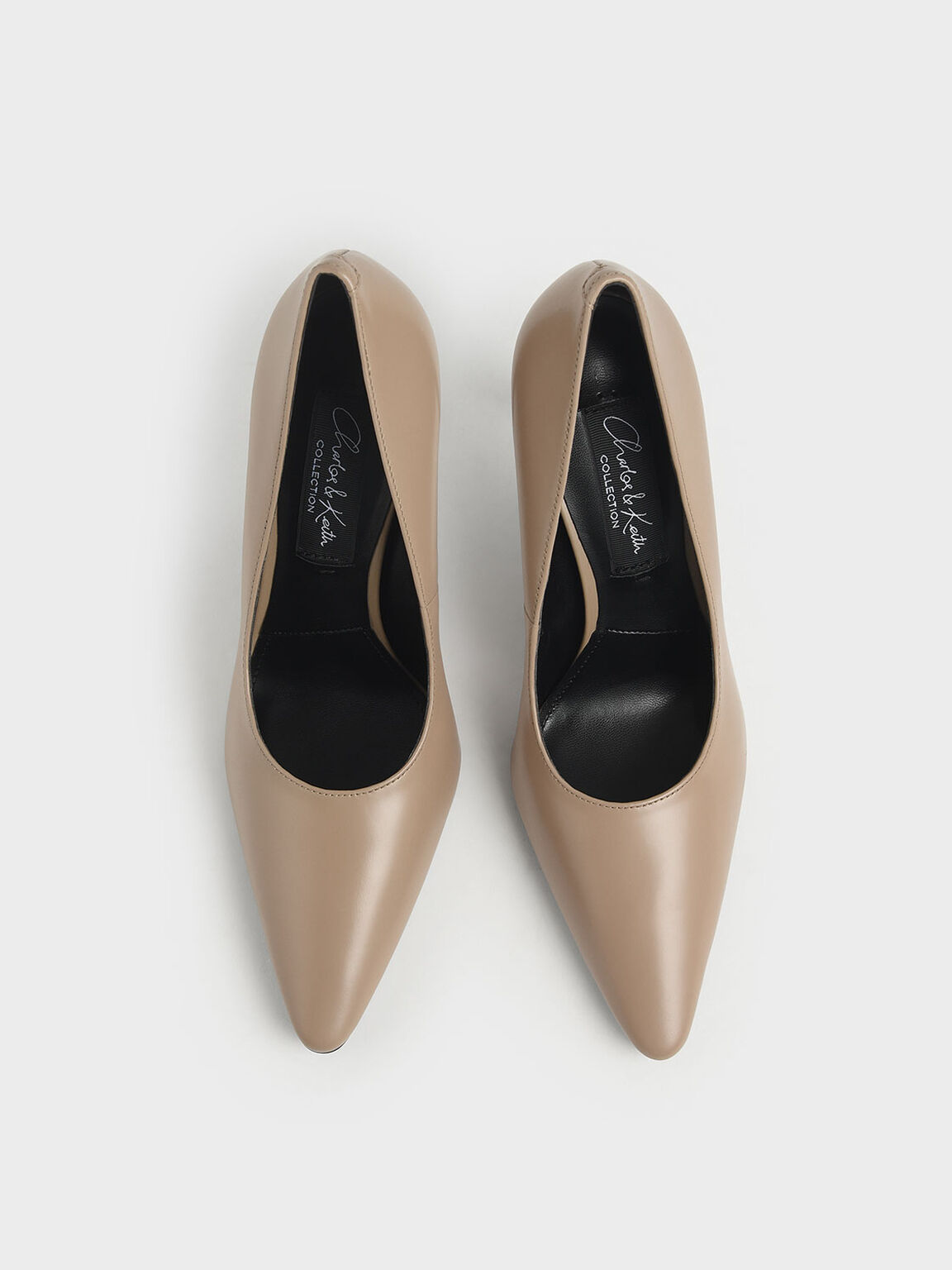 Leather Stiletto Heel Pumps, Taupe, hi-res