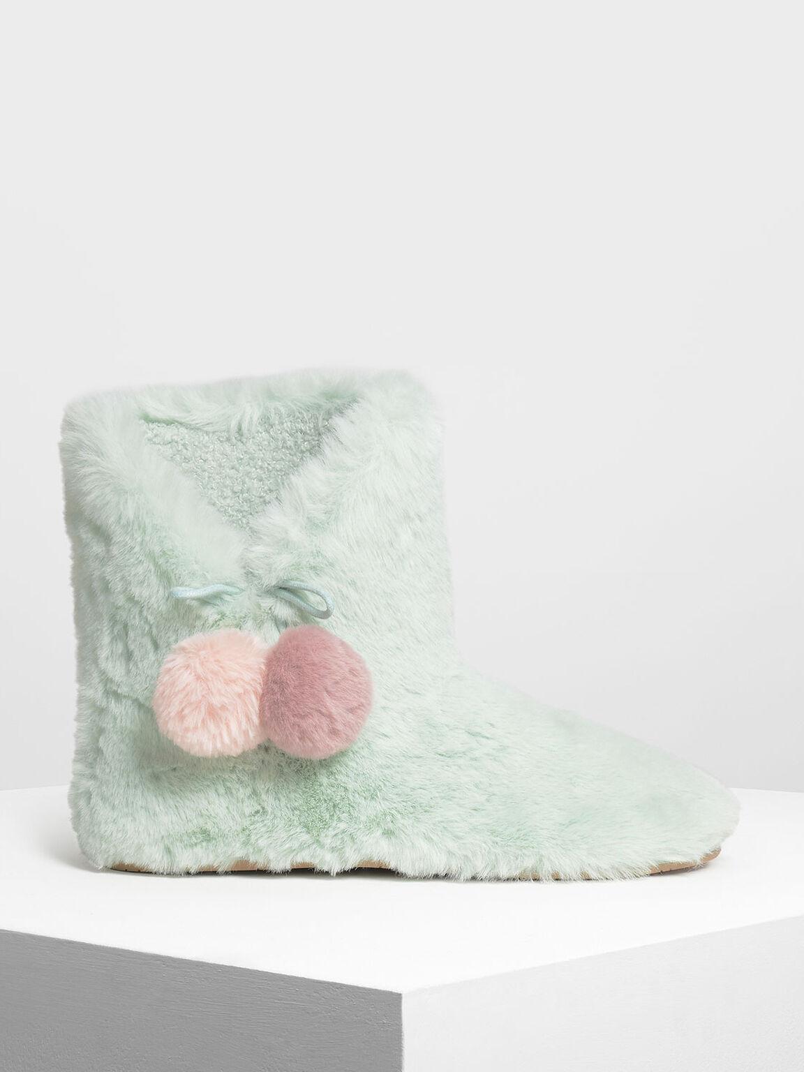 Furry Pom Pom Boots, Mint Green, hi-res