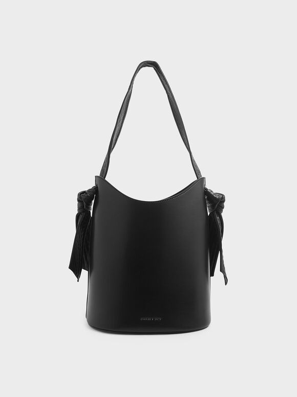 Knot Handle Bucket Bag, Black, hi-res