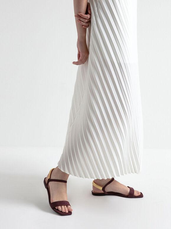 Textured Square Toe Sandals, Burgundy, hi-res