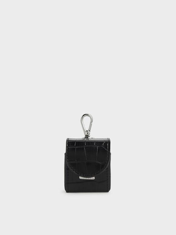 Croc-Effect Airpod Case Necklace, Black, hi-res