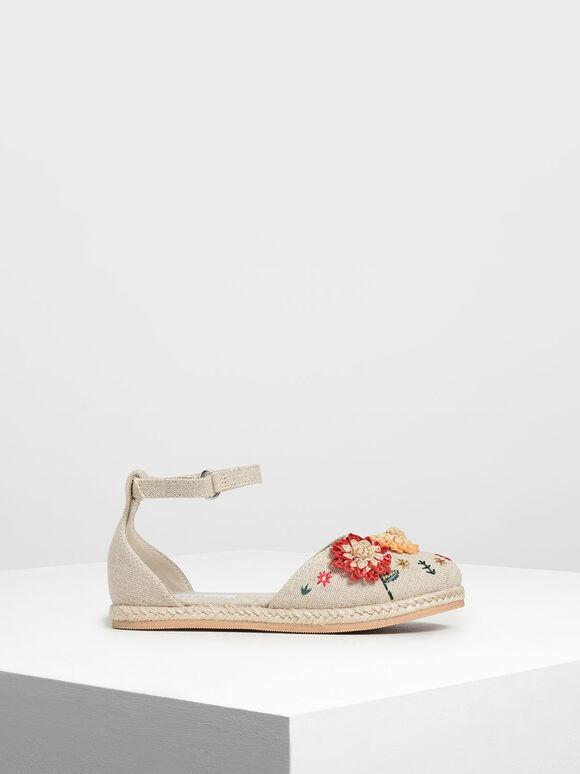 兒童立體花卉草編涼鞋, 灰褐色, hi-res