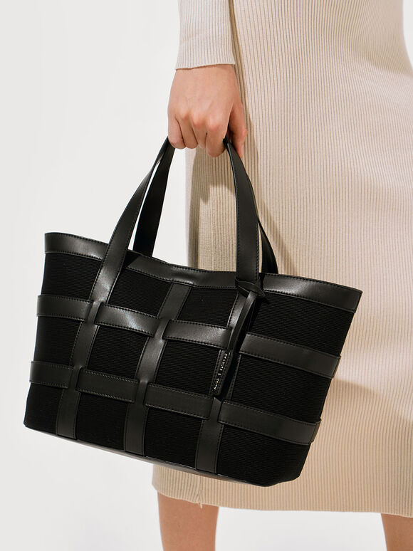 Large Caged Canvas Tote Bag, Black, hi-res