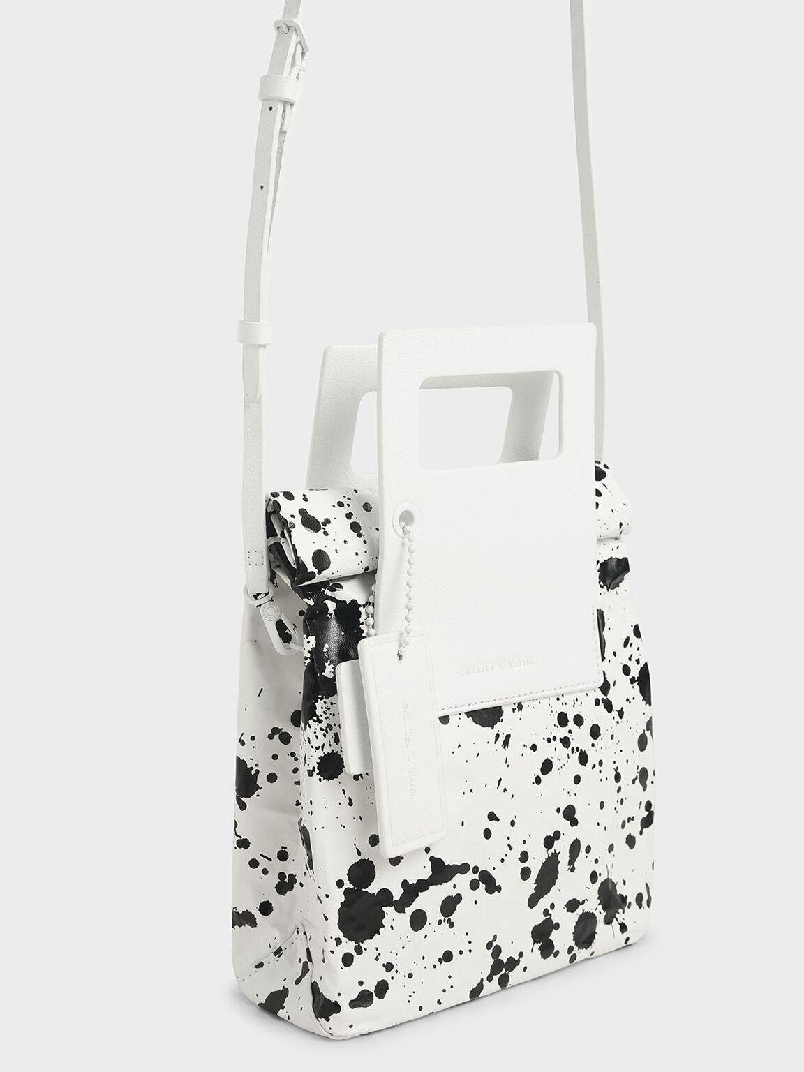 Printed Crumpled-Effect Tote Bag, White, hi-res