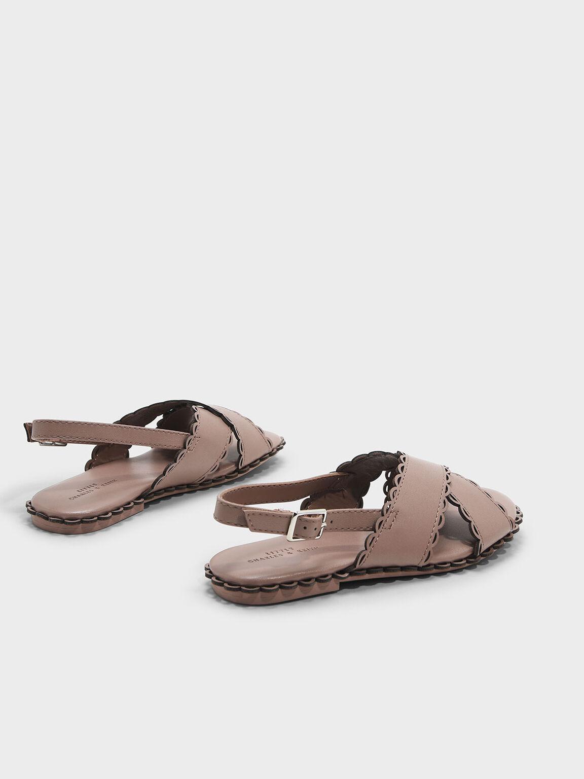 兒童波浪滾邊涼鞋, 膚色, hi-res