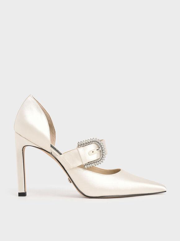 婚禮系列:緞面扣環高跟鞋, 白色, hi-res