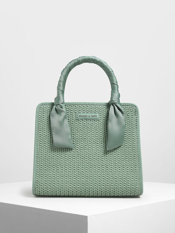 Satin Scarf Wrapped Woven Bag, Green, hi-res