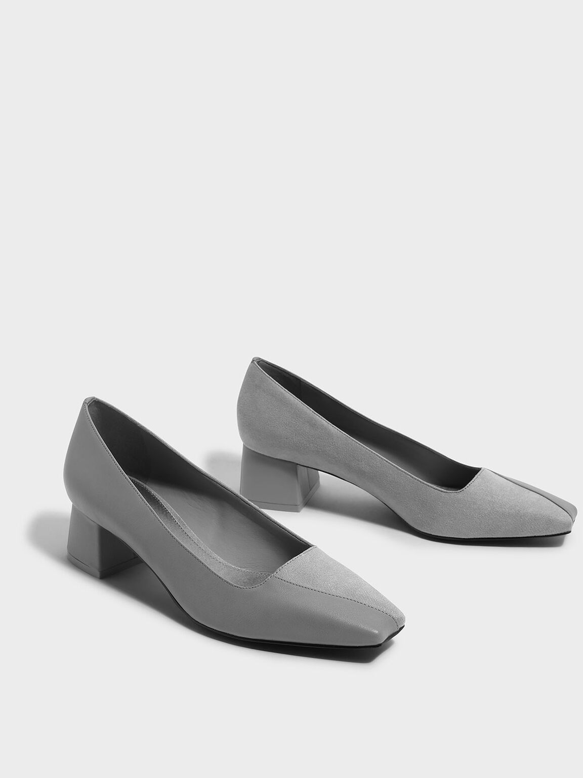 Trapeze Heel Pumps, Grey, hi-res