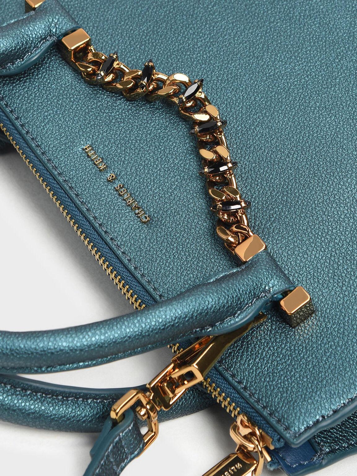 Chain Detail Handbag, Teal, hi-res
