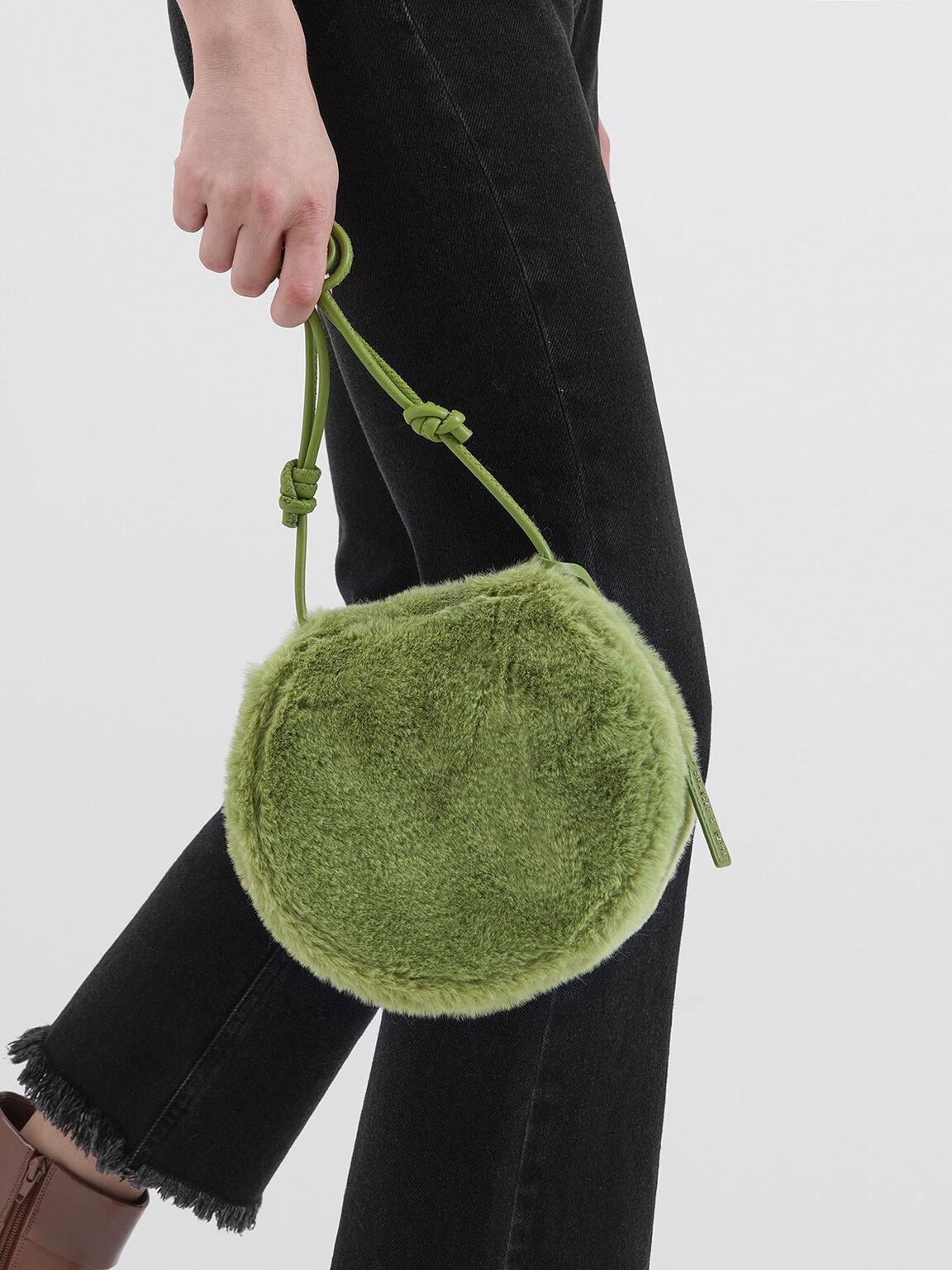 絨毛斜背包, 綠色, hi-res