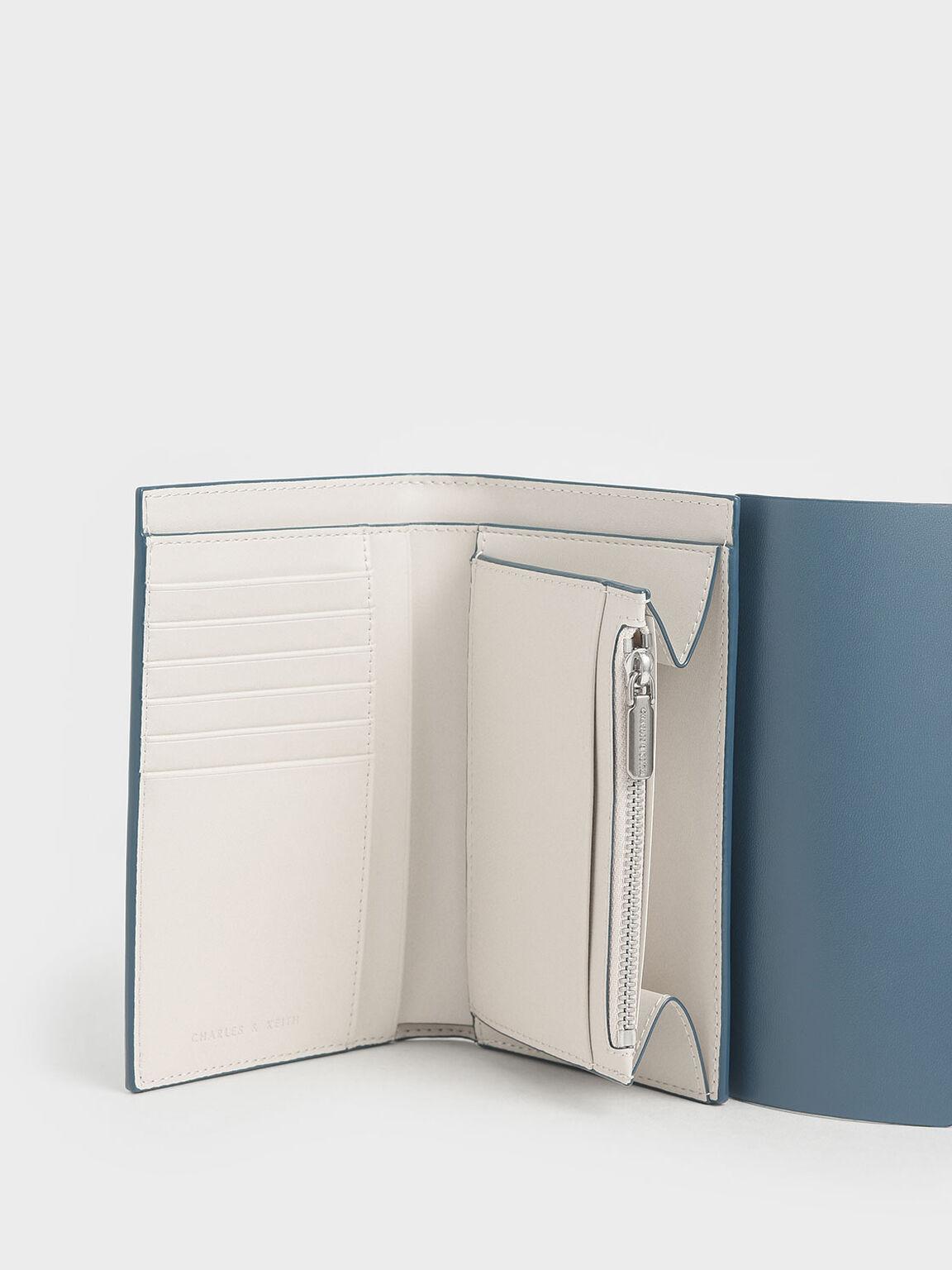 Reversible Front Flap Passport Holder, Blue, hi-res