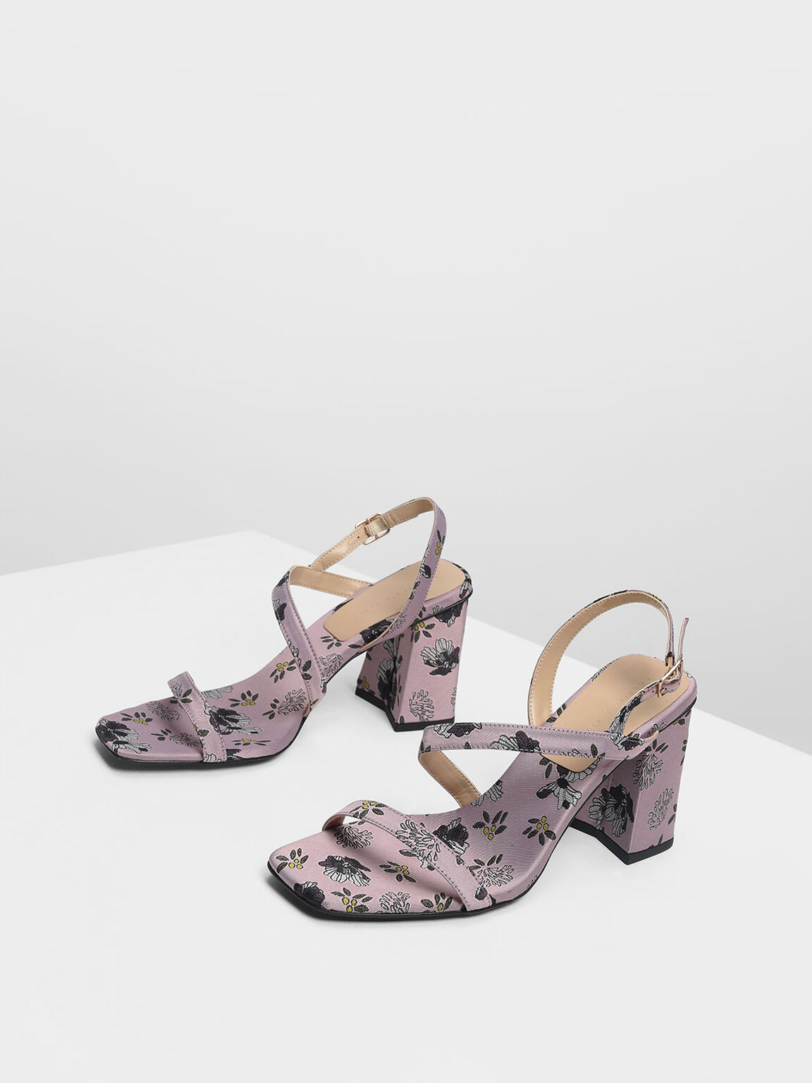 Asymmetrical Strap Heeled Sandals, Lilac, hi-res