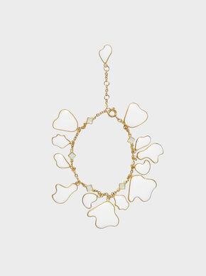 Crystal & Acrylic Petal Bracelet, White