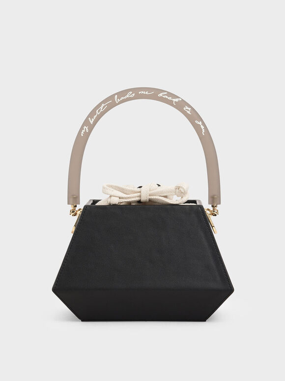 Acrylic Handle Structured Bucket Bag, Black, hi-res