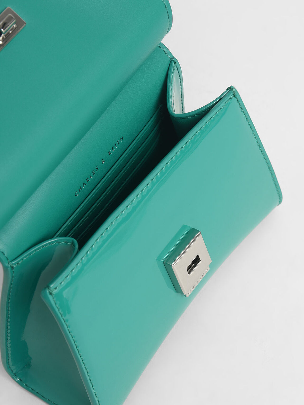 Patent Belt Bag, Teal, hi-res