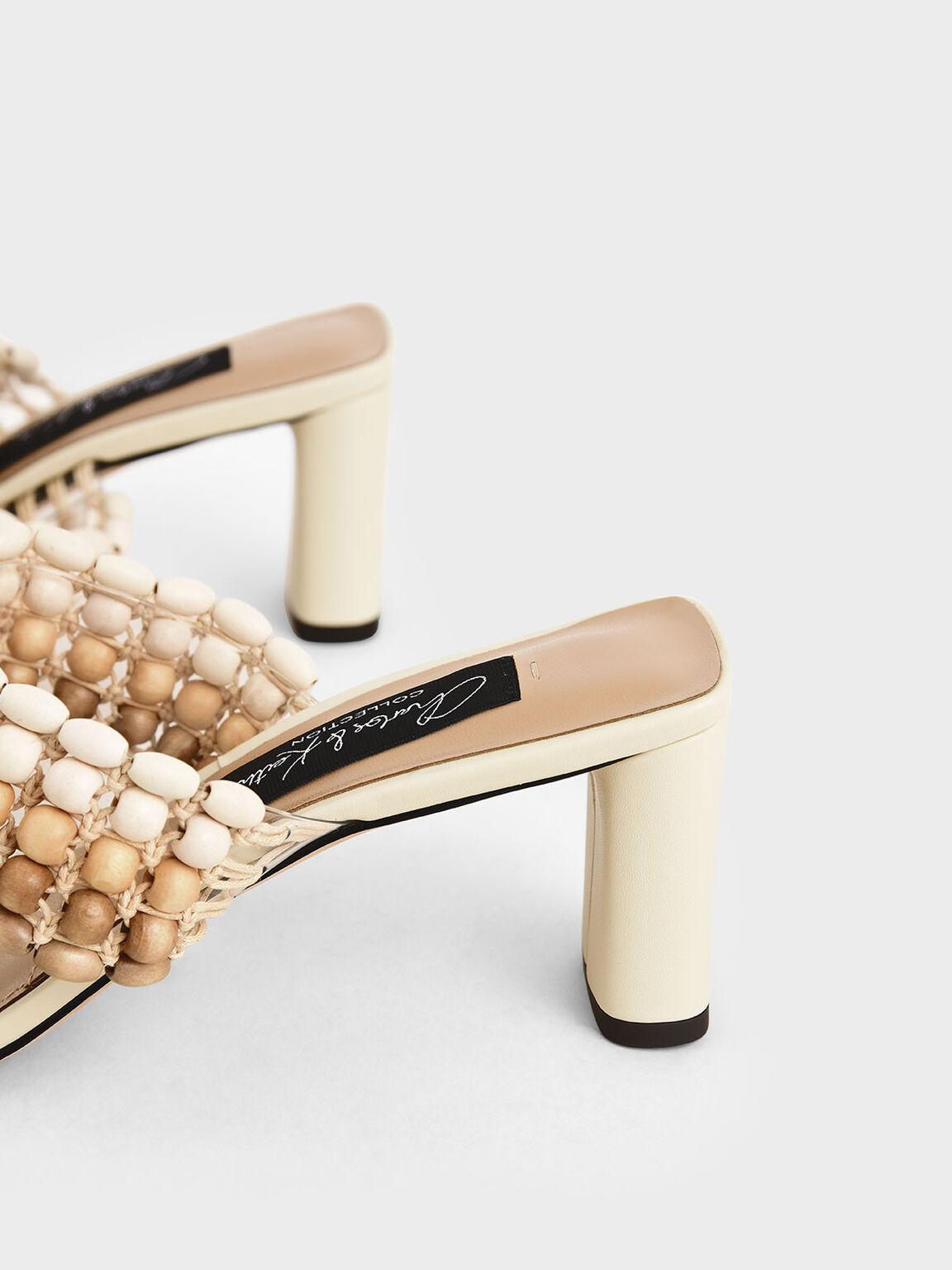 真皮串珠拖鞋, 石灰白, hi-res