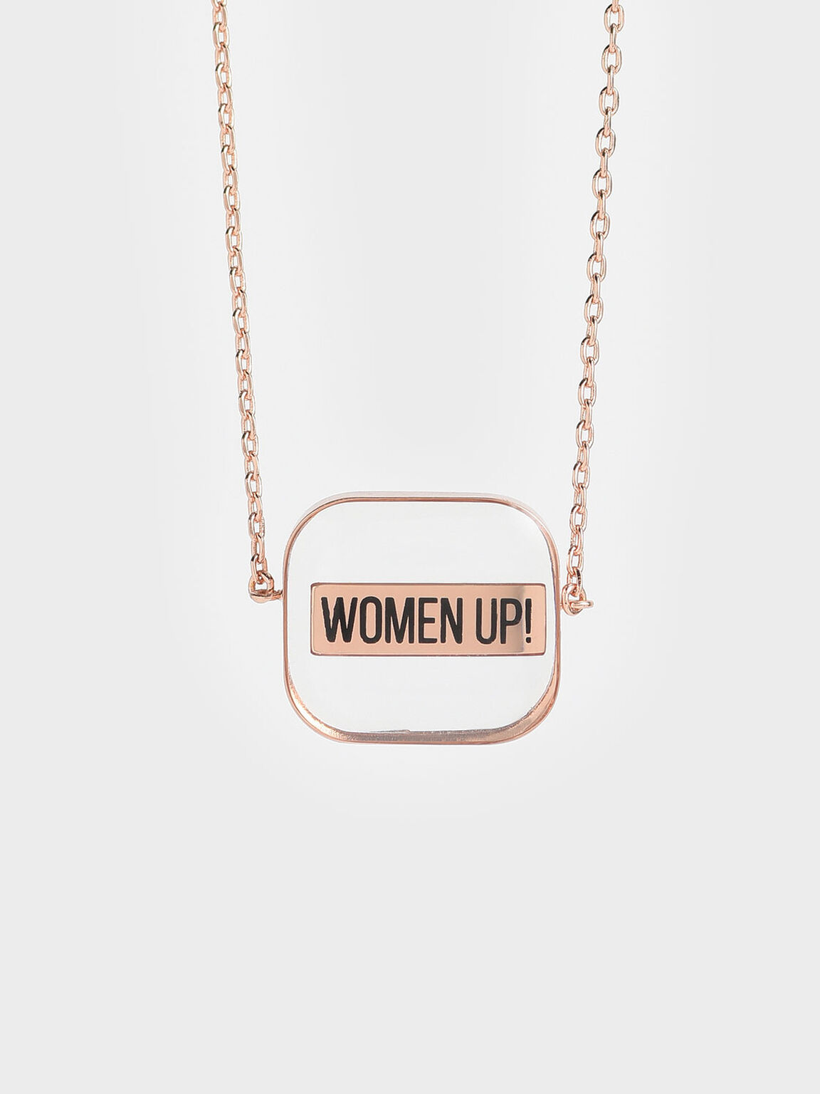 "WOMEN UP!"" Acrylic Necklace"", Rose Gold, hi-res"