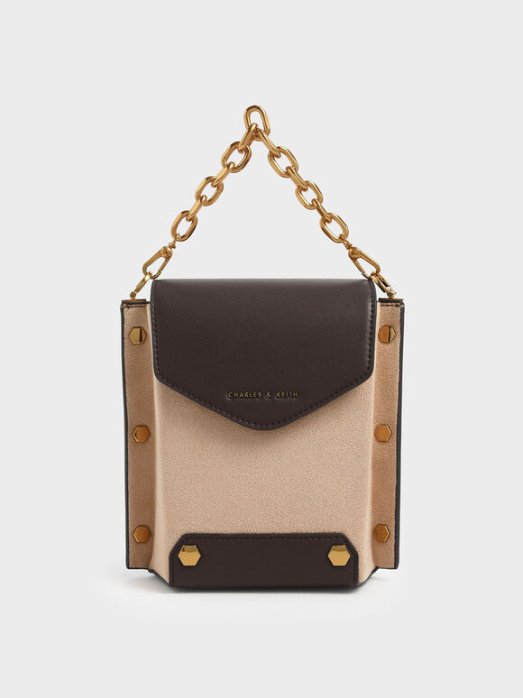 Stud Detail Textured Bag, Beige, hi-res