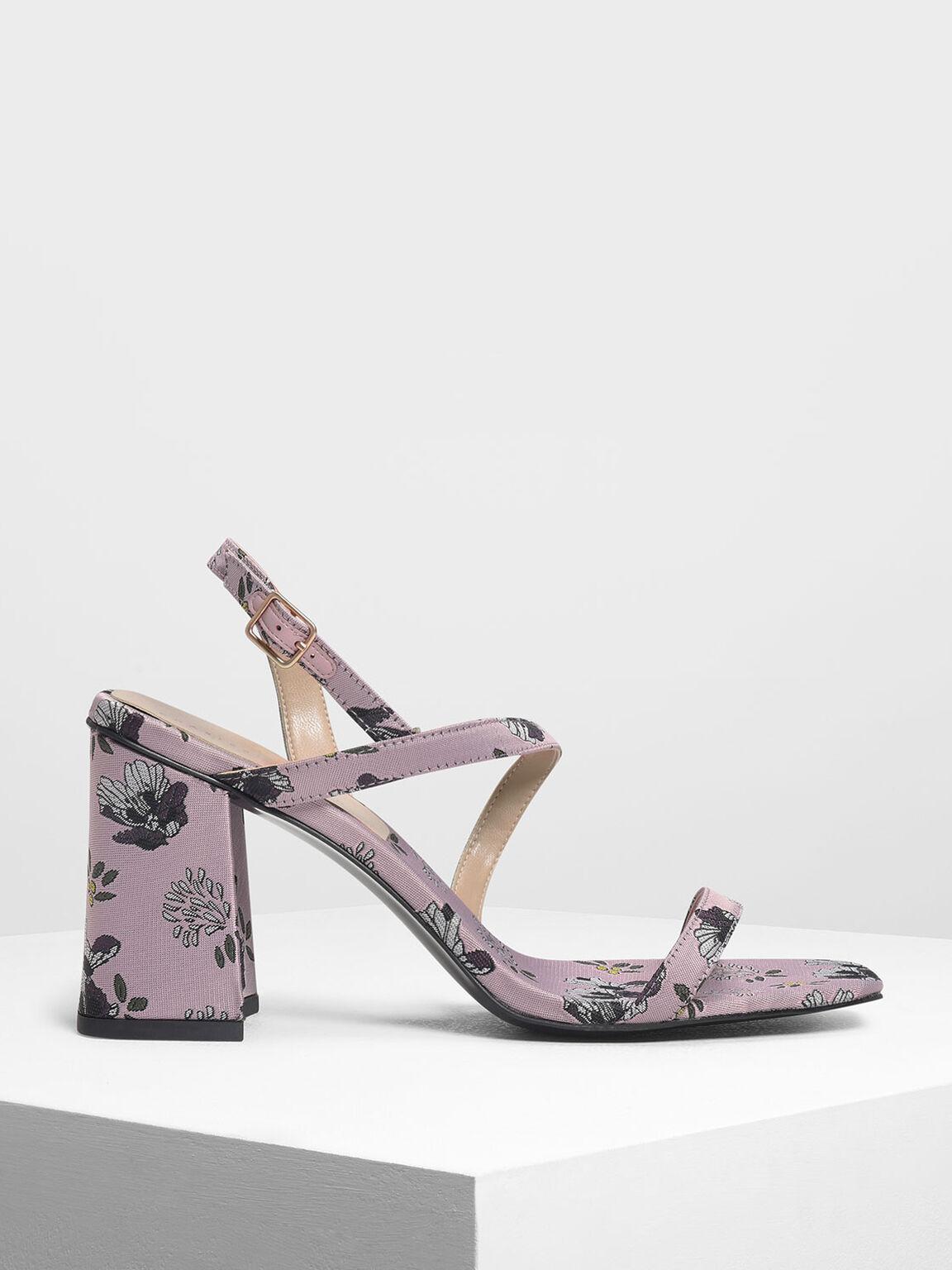 Asymmetrical Strap Heeled Sandals, Lilac, hi-res