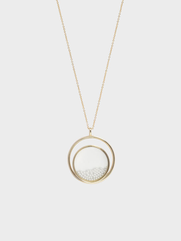 Pearl Finish Stone Floating Locket Matinee Necklace, Pearl