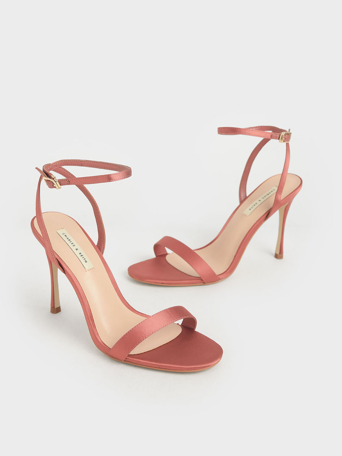 Satin Stiletto Heels, Pink, hi-res