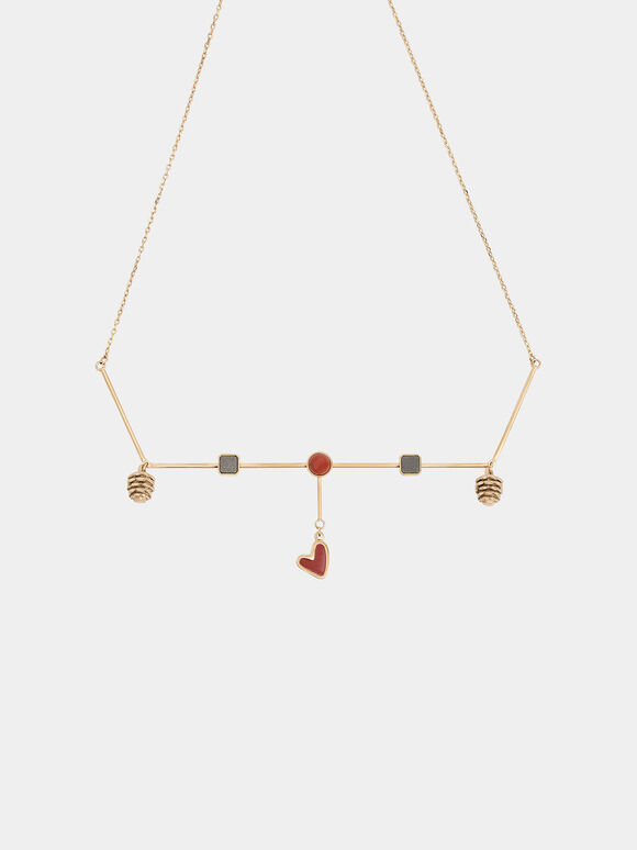 Red Jasper & Pyrite Gemstone Horizontal Necklace, Gold, hi-res
