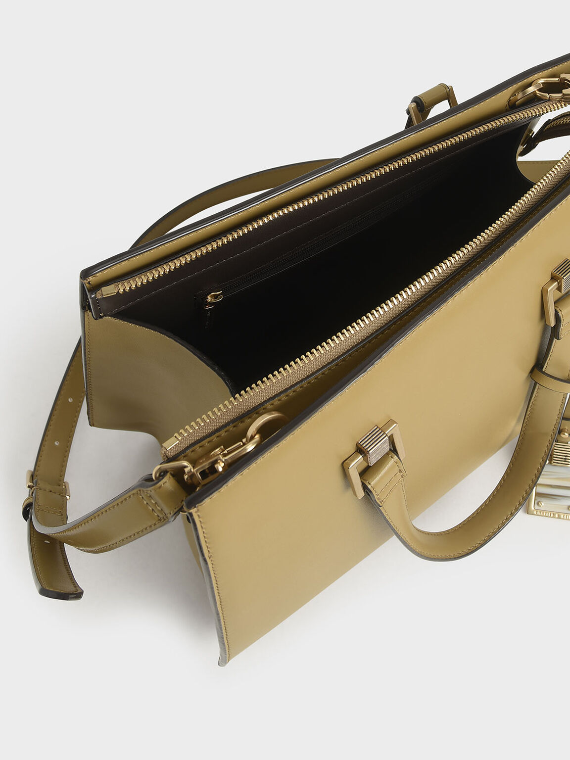 Structured Tote Bag, Khaki, hi-res