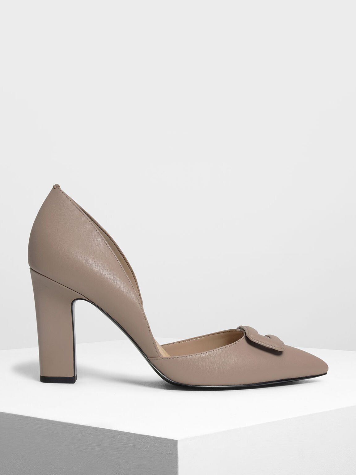 Wrapped Buckle Detail Pumps, Taupe, hi-res