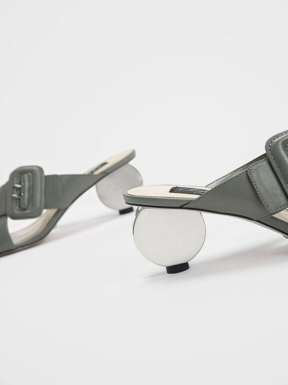Sculptural Heel Leather Slide Sandals, Sage Green
