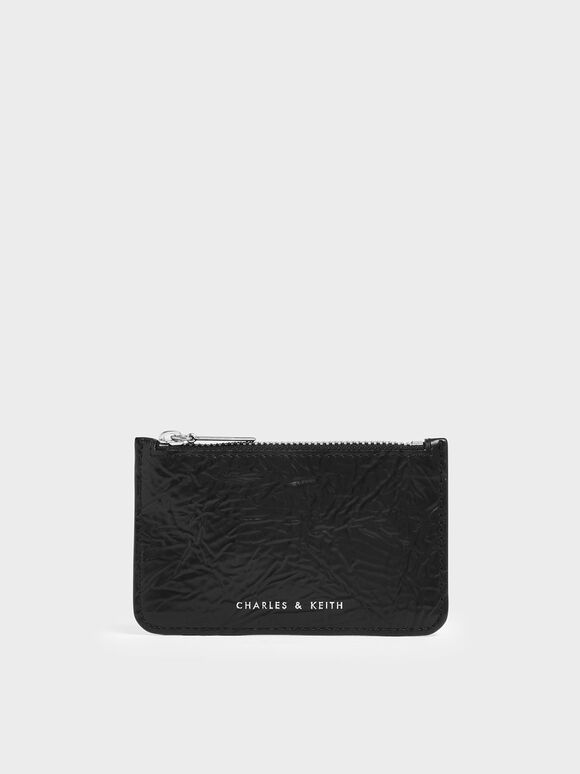 Wrinkled Effect Top Zip Cardholder, Black, hi-res