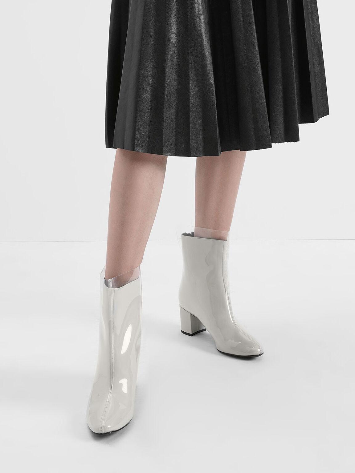 See-Through Effect Block Heel Calf Boots, Grey, hi-res