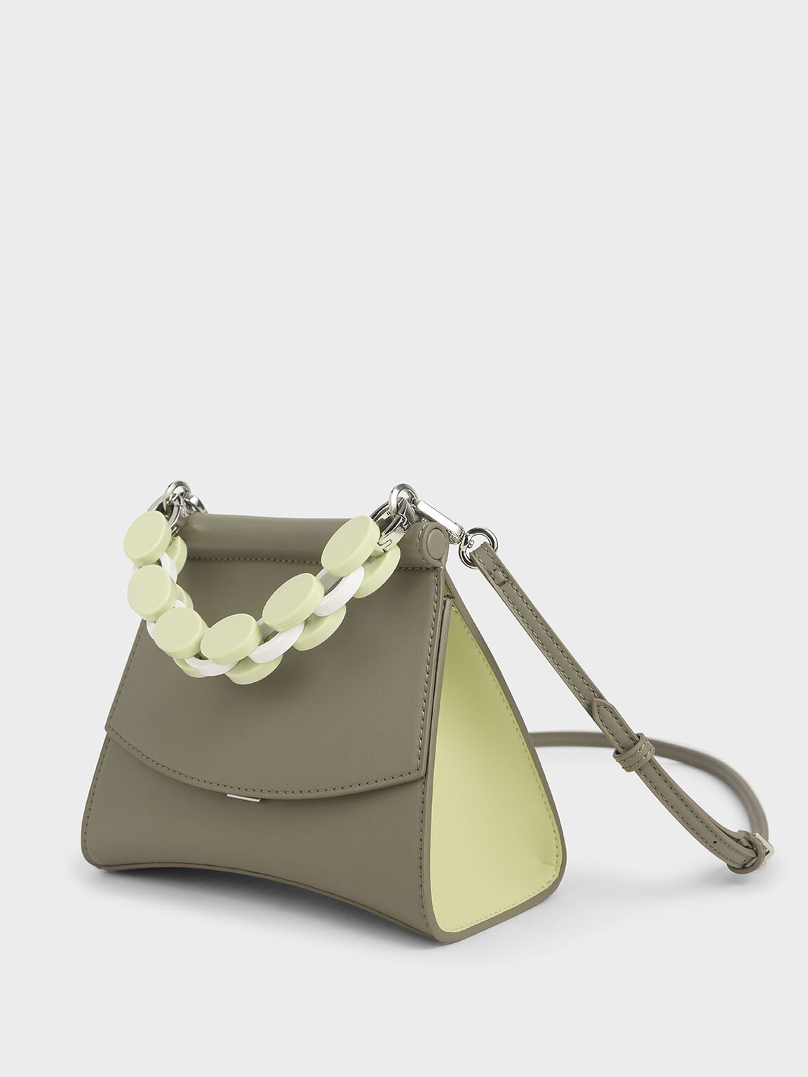 Acrylic Handle Sculptural Bag, Grey, hi-res