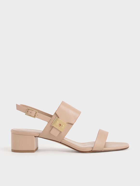 Buckle Strap Sandals, Nude, hi-res