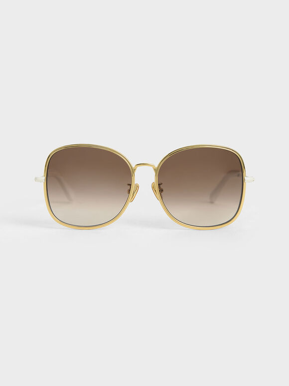Gradient Tint Butterfly Sunglasses, Cream, hi-res