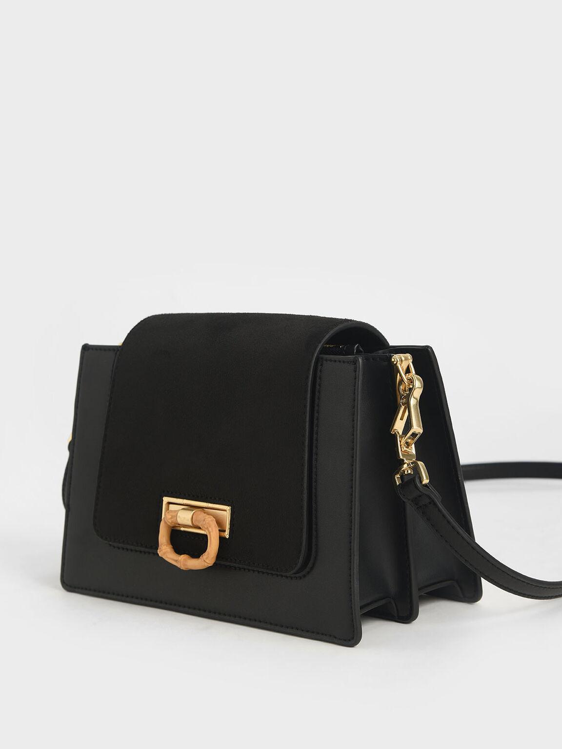 竹紋拉環斜背包, 黑色, hi-res