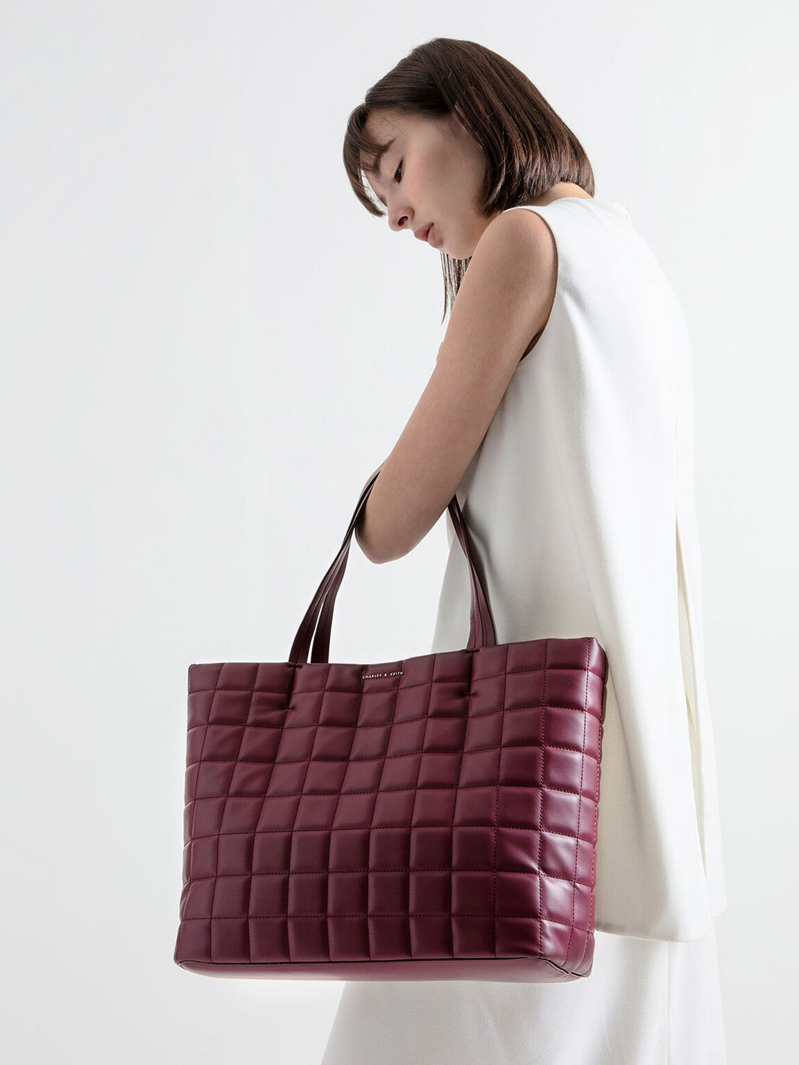 Quilted Large Tote Bag, Burgundy, hi-res